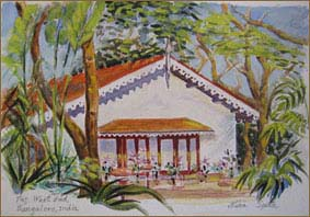 Taj West End Cottage, Bangalore, India (7x10 inches)